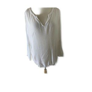 INC International Concepts Blouse White Top Crinkl